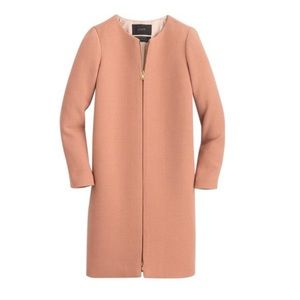 J Crew Double Cloth Collarless Long Coat in Pink